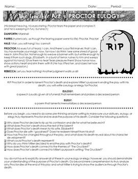 The Crucible Act 4: John Proctor Eulogy + Funeral: Engaging Way to Analyze Play!