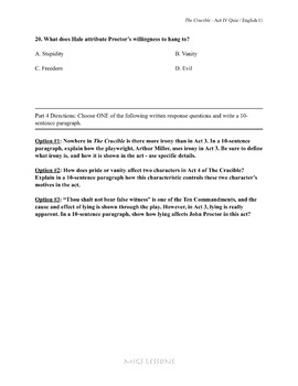 The Crucible Act 4 Quiz
