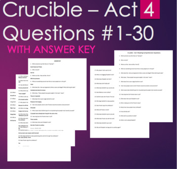 The Crucible Act 4 Reading Comprehension Questions #1-20 w/ ANSWER KEY