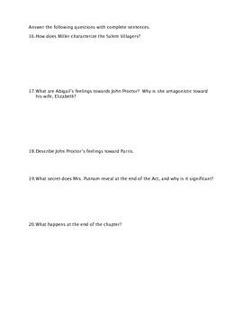 The Crucible Act I Quiz