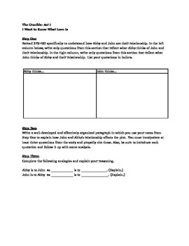 The Crucible: Act I Worksheets