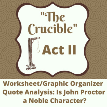 The Crucible Act II: John Proctor Noble Character Quote Analysis