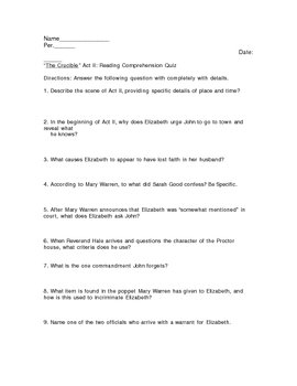 The Crucible Act II Reading Quiz