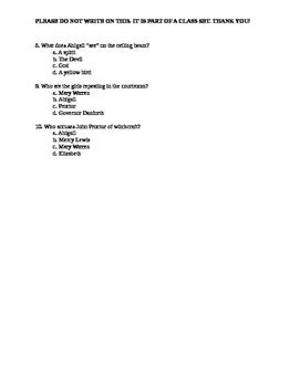 The Crucible Act III Quiz