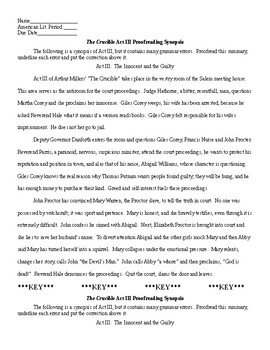 The Crucible Act III Synopsis Proofreading & KEY