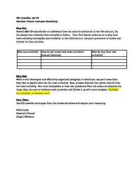 The Crucible: Act III Worksheets