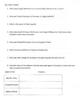 The Crucible Act III quiz (long version)