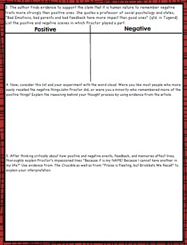 The Crucible Act IV Activity + Informational Text
