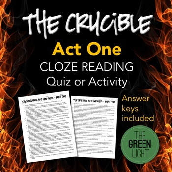 The Crucible Act One Quiz and Cloze Reading Activity Worksheet