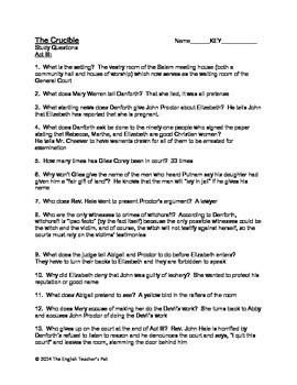 the crucible act questions and answer keys by the english teacher s pet rh teacherspayteachers com short answer study guide questions the crucible act 3 answers the crucible study guide answers act 3 pdf