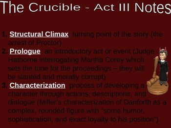 The Crucible Act Three Notes PowerPoint