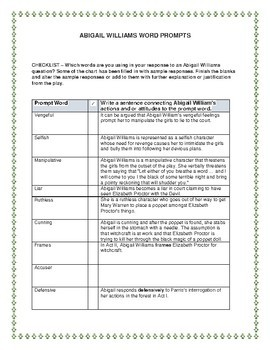 What Is The Thesis Statement In The Essay  Good High School Essay Topics also How To Write Proposal Essay The Crucible Critical Prompts For Expository Essay  Abigail Williams How To Start A Proposal Essay