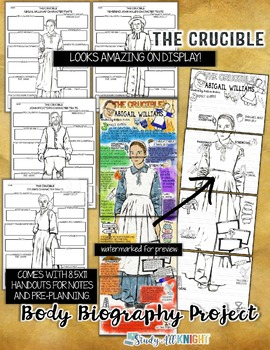 The Crucible, Body Biography Project Bundle, Great for Characterization