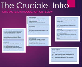 The Crucible Character Card Game Cooperative Learning -Arthur Miller
