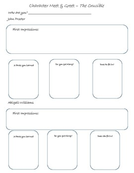 The Crucible Character Meet and Greet Graphic Organizer by ...