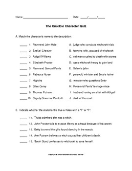 The Crucible Character Quiz with Key