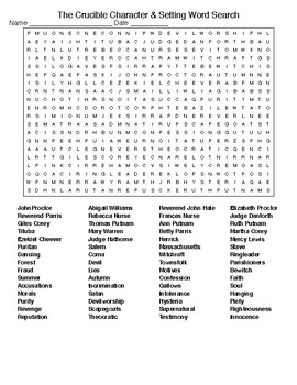 the crucible character setting crossword word search tpt. Black Bedroom Furniture Sets. Home Design Ideas