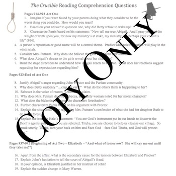 Arthur Miller's The Crucible: Comprehension Reading Questions