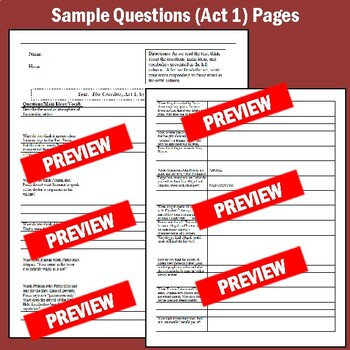 """""""The Crucible"""": Questions for Acts 1-4 as Cornell Notes (with Answers)"""