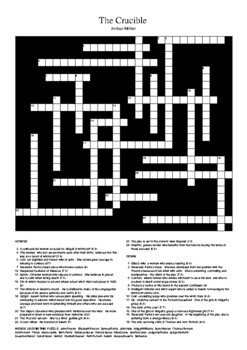 the crucible crossword puzzle by m walsh teachers pay teachers. Black Bedroom Furniture Sets. Home Design Ideas