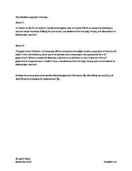 The Crucible Essay Topics