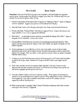 literature the crucible essay topics by connie tpt literature the crucible essay topics