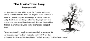 The Crucible Final Essay & Thesis Activity