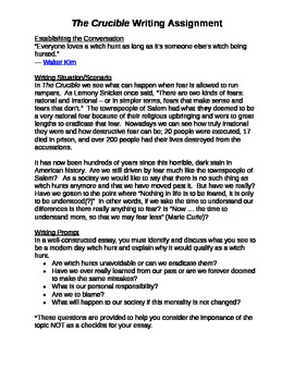 High School Admission Essay The Crucible Final Writing Prompt The Crucible Final Writing Prompt Thesis Statements For Essays also Importance Of English Essay The Crucible Writing Prompts Teaching Resources  Teachers Pay Teachers How To Write A Good Essay For High School
