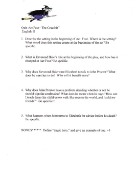 The Crucible Four Quizzes in all! (acts 1 2 3 4)