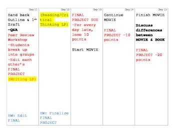 The Crucible Full Unit Plan Calendar