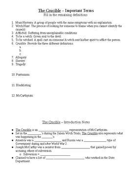 The Crucible Guided notes