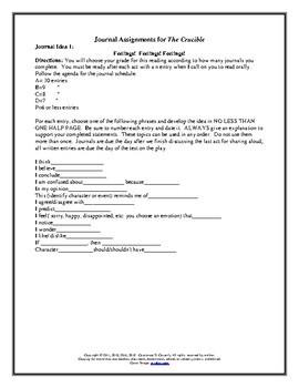 Literature - The Crucible Journal Assignment: Three Activities