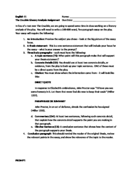 The Crucible - Literary Analysis Essay