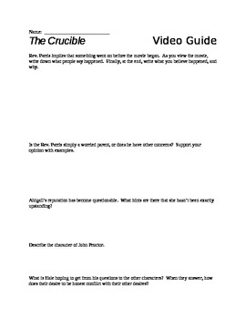 The Crucible Characterization Worksheet SlidePlayer The Crucible Arthur Miller