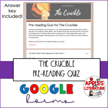 The Crucible, Pre-Reading Quiz