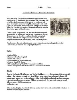 The Crucible Preparation Mini Homework Assignment