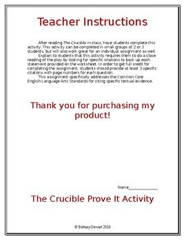 The Crucible Prove It Activity