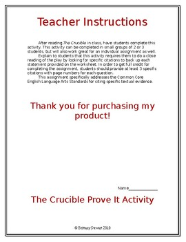 The Crucible Prove It Activity