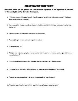 The Crucible Quiz, Act 3