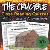 The Crucible Quizzes and Cloze Reading Activities, Worksheets