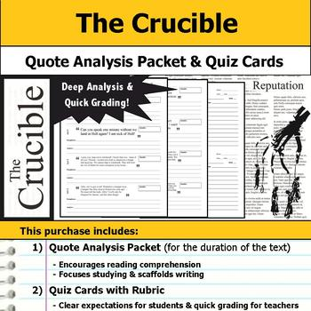 The Crucible - Quote Analysis & Reading Quizzes