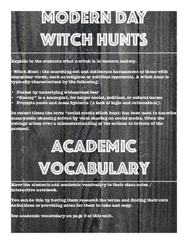 The Crucible Research Essay Modern Day Witch Hunts Documented Essay UNIT