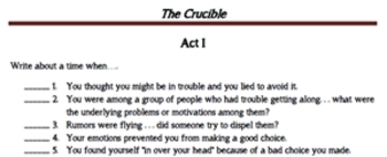 The Crucible Student Response Journal