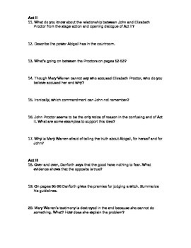 The Crucible Study Guide Questions