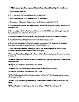 The Crucible Study Guide --Whole play, 80 questions
