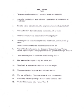 The Crucible Study Questions four acts