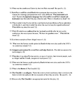 The Crucible Test and Detailed Answer Key