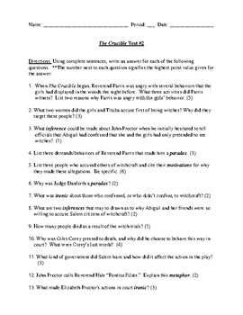 The crucible answer key teaching resources teachers pay teachers the crucible test and detailed answer key fandeluxe Choice Image