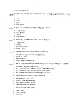 The Crucible Test with Answer Key