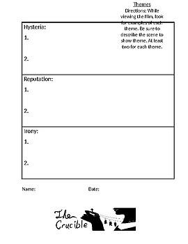 The Crucible Theme Handout by Daphne\'s Things | Teachers Pay Teachers